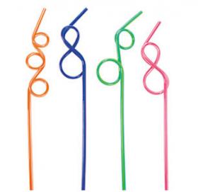 Plastic Neon Two-Tone Fun Loop Straws