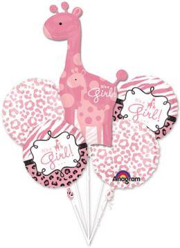 Safari Print Its A Girl Giraffe Balloon Bouquet 5pc