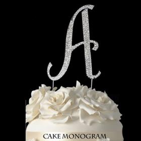 Silver Monogram Cake Topper - A