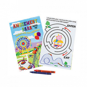 Amusement Park Activity Pads with 2-Pack Crayons (3pcs/set)