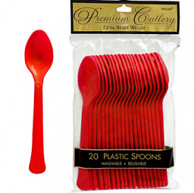 Apple Red  Premium Quality Plastic Spoons 20ct