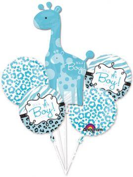 Safari Print Its A Boy Giraffe Balloon Bouquet 5pc