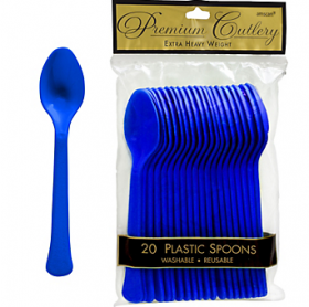 Bright Royal Blue  Premium Quality Plastic Spoons 20ct