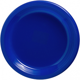 Bright Royal Blue Plastic Dinner Plates 20ct