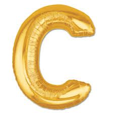 "34"" Inch Letter C Gold Giant Foil Balloon Uninflated"