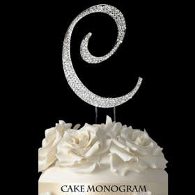 Silver Monogram Cake Topper - C