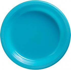 Carribbean Blue Plastic Dinner Plates 20ct