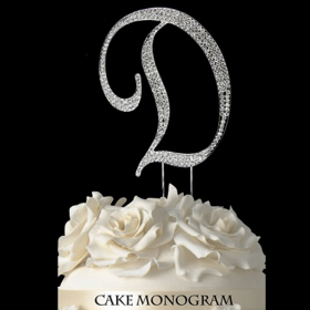 Silver Monogram Cake Topper - D