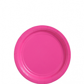 Bright Pink Paper Dessert Plates 20ct