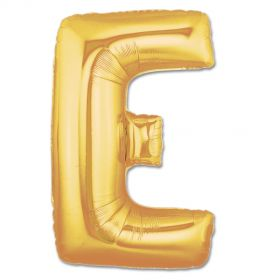 "34"" Inch Letter E Gold Giant Foil Balloon Uninflated"