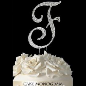 Silver Monogram Cake Topper - F