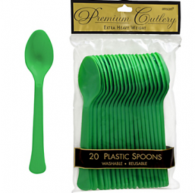 Festive Green  Premium Quality Plastic Spoons 20ct