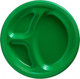 Festive Green  Plastic Divided Dinner Plates 20ct