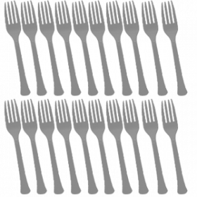 Silver Premium Quality Plastic Forks 20ct