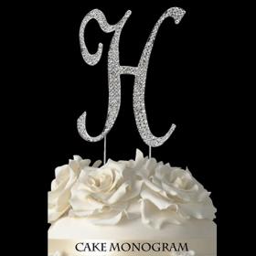 Silver Monogram Cake Topper - H