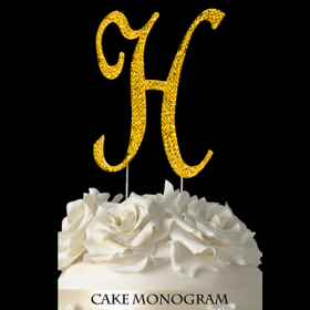 Gold Monogram Cake Topper - H