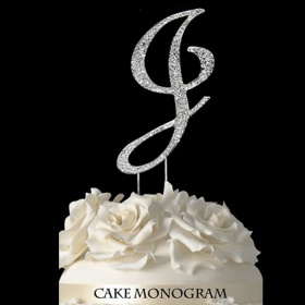 Silver Monogram Cake Topper - J