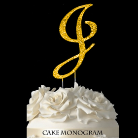 Gold Monogram Cake Topper - J