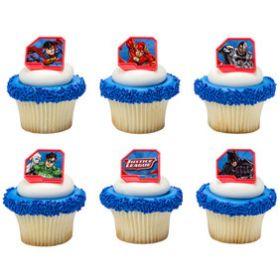 Justice League Cupcake Rings 6pcs