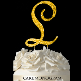 Gold Monogram Cake Topper - L