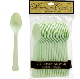 Leaf Green  Premium Quality Plastic Spoons 20ct