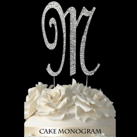 Silver Monogram Cake Topper - M