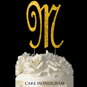 Gold Monogram Cake Topper - M