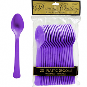 New Purple  Premium Quality Plastic Spoons 20ct