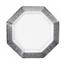 "Lacetagon - 9.25"" Pearl Plate - Silver Rim - 10 Count"