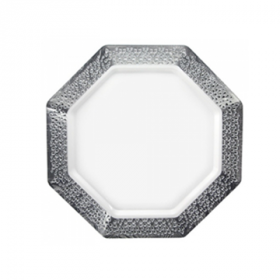 "Lacetagon - 7.25"" Pearl Plate - Silver Rim - 10 Count"