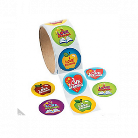 """""""I Love Reading"""" Roll of Stickers (100pcs/roll)"""