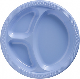 Pastel Blue  Plastic Divided Dinner Plates 20ct