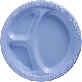Pastel Blue  Plastic Divided Dinner Plates 20ct