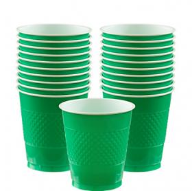 12oz Festive Green Plastic Cups 20ct