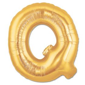 "34"" Inch Letter Q Gold Giant Foil Balloon Uninflated"