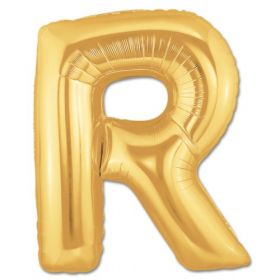 "34"" Inch Letter R Gold Giant Foil Balloon Uninflated"