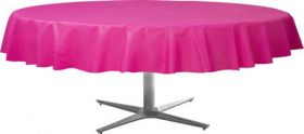 Bright Pink Round Plastic Table Cover