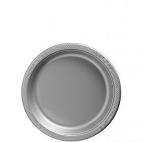 Silver Plastic Dessert  Plates 20ct