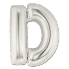 "34"" Inch Letter D Silver Giant Foil Balloon Uninflated"