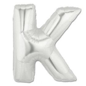 "34"" Inch Letter K Silver Giant Foil Balloon Uninflated"