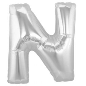 "34"" Inch Letter N Silver Giant Foil Balloon Uninflated"
