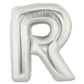 "34"" Inch Letter R Silver Giant Foil Balloon Uninflated"