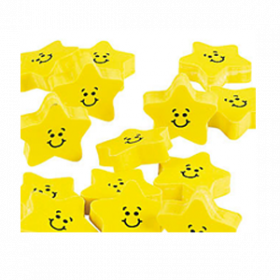 Rubber Smile Face Star Erasers