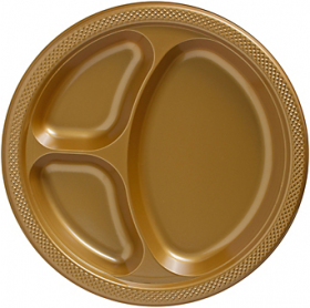 Gold Sparkle Plastic Divided Dinner Plates 20ct