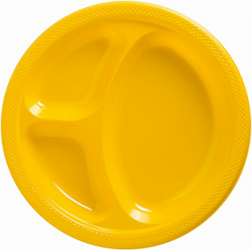 Yellow Sunshine  Plastic Divided Dinner Plates 20ct