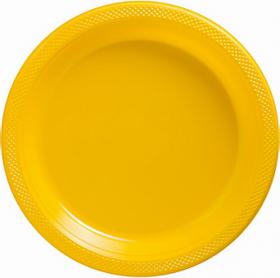 Yellow Sunshine Plastic Dinner Plates 20ct