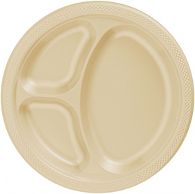 Vanilla Crème  Plastic Divided Dinner Plates 20ct