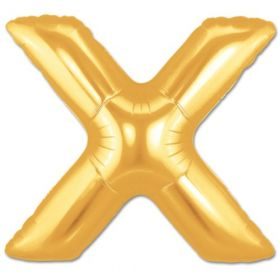 "34"" Inch Letter X Gold Giant Foil Balloon Uninflated"