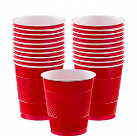 12oz Apple Red Plastic Cups 20ct