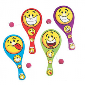 Goofy Smile Face Paddleball Games 1 doz